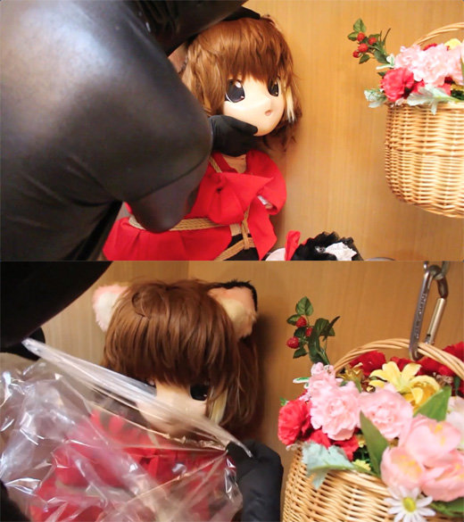 【着ぐるみ】三毛猫娘をクローゼット監禁【呼吸制御】