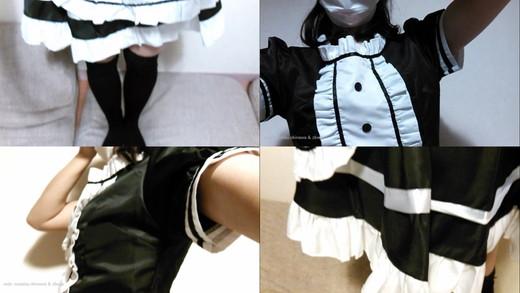 【自撮りカメラde投稿動画】メイド服コスプレを真下から (アップ撮影・パンチラ)