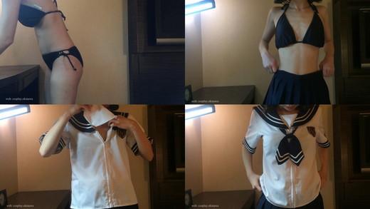 【フル版】かわいいセーラー服コスプレ(半袖)着替え 〜スク水・下着・黒いビキニの水着〜